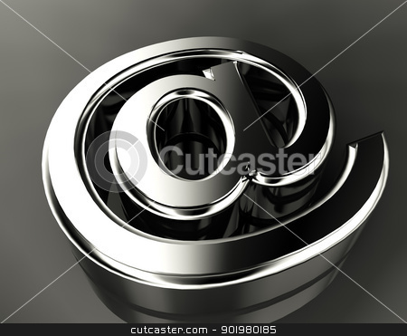 Arroba symbol  stock photo, 3d image of metal arroba symbol by carloscastilla