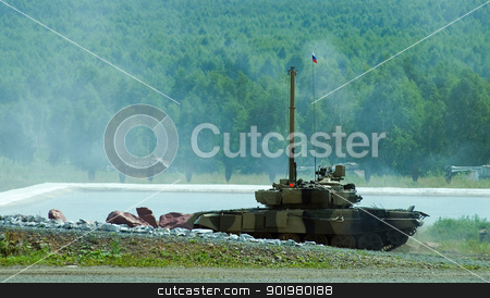 Tank T-80 after water obstacle stock photo, Shooting tank T-80 moving through cross-country terrain with obstacles by Aikon