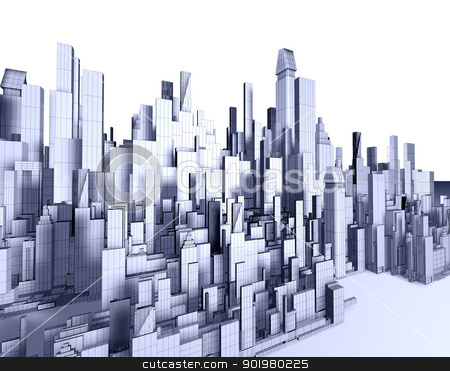 Architecture blueprint stock photo, 3d illustration of empty city blueprint by carloscastilla