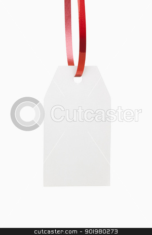 Gift Tag stock photo, A blank, white christmas gift tag, includes clipping path by Bryan Mullennix