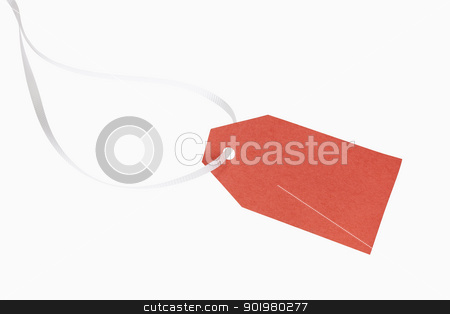 Gift Tag stock photo, A blank, red christmas gift tag, includes clipping path by Bryan Mullennix