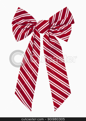 Christmas Bow stock photo, Red and white striped christmas box, includes clipping path by Bryan Mullennix