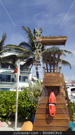 Wooden Life Guard Tower stock photo, A wooden life guard station by the beach by Kevin Tietz