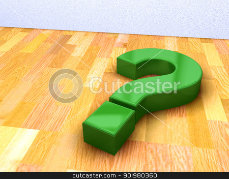  green question mark stock photo, 3d image of green question mark on a wood floor by carloscastilla