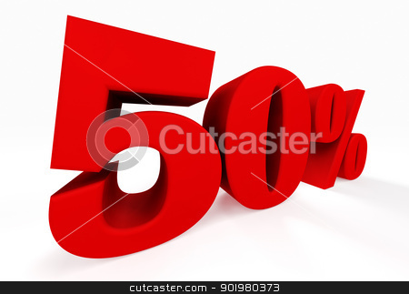 3d fifty percent  stock photo, 3d fifty percent islated on white by carloscastilla
