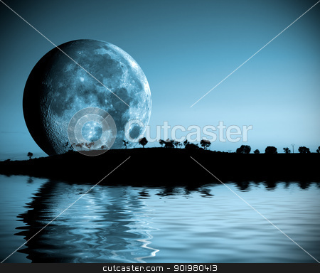 Full moon landscape stock photo, Night landscape with full moon and lake by carloscastilla