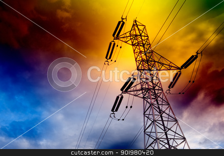 Energy concept stock photo, Electrical transmission tower landscape.Energy concept by carloscastilla