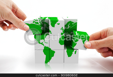 International world map stock photo, 3d image of conceptual cube world map by carloscastilla