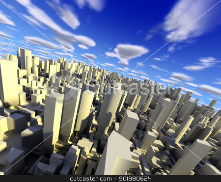 3d cityscape stock photo, 3d city with skyscraper,modern buildings and blue sky by carloscastilla