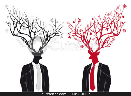 Man with deer head, christmas vector stock vector clipart, Stag head man with antlers, christmas vector illustration by Beata Kraus
