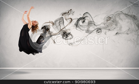 Modern style dancer posing stock photo, Beautiful young dancer with black smoke curles around her by Sergey Nivens