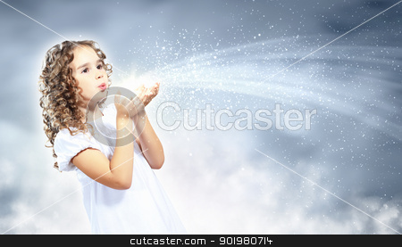 Child with magic light stock photo, Little girl with magic lights and shining around by Sergey Nivens