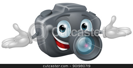Camera man  stock vector clipart, Illustration of a happy cartoon camera man with hands outstretched  by Christos Georghiou