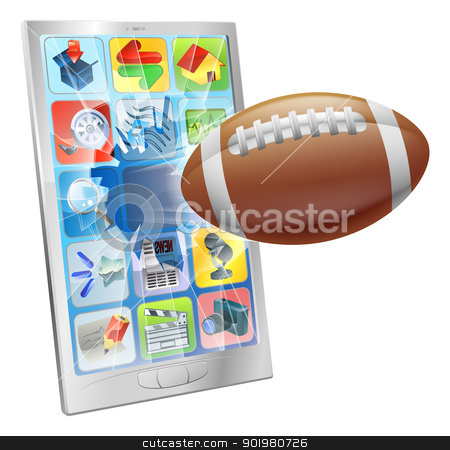 American football ball mobile phone stock vector clipart, Illustration of an American football ball flying out of mobile phone screen by Christos Georghiou