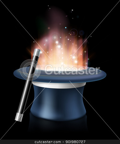 Illustration of magic hat and magic wand stock vector clipart, An illustration of magic hat and magic wand with glowing magic light coming out of the hat  by Christos Georghiou