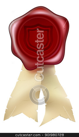 Shield wax seal with ribbons stock vector clipart, A red shield wax seal with ribbons. Concept for guaranteed secure or similar. by Christos Georghiou