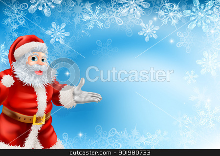 Blue snowflakes and Santa background stock vector clipart, Illustration of beautiful Christmas blue snowflake background with Santa Claus by Christos Georghiou