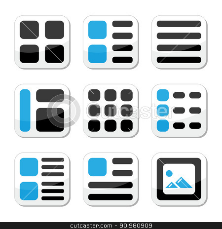 Website display options and photo gallery view icons set stock vector clipart, Displaying thumbnails of text and images on web page - labels set  by Agnieszka Murphy