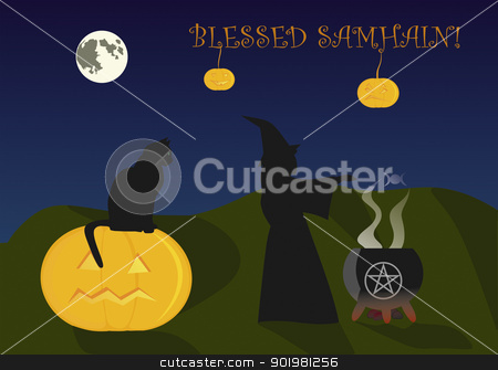 Samhain greeting card stock vector clipart, Greeting card to Halloween, or Samhain by Viacheslav Belyaev