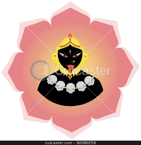 Kali Ma stock vector clipart, Hindu Goddess Mother Kali Devi, form of Goddess Durga, consort of Lord Shiva by Viacheslav Belyaev