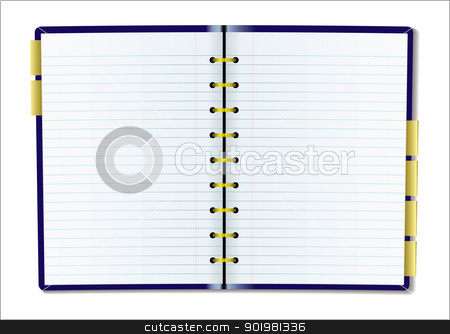 Blank diary page stock vector clipart, Two pages of diary blank with rulled lines by Michael Travers