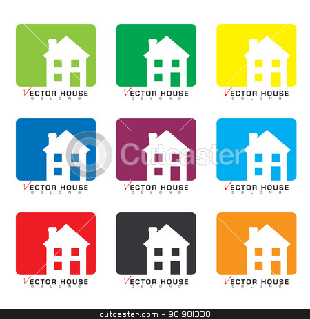 House icon collection stock vector clipart, Collection of house icons with rainbow set of colors by Michael Travers