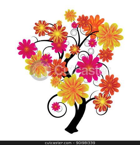 Floral tree stock vector clipart, Modern artistic tree with floral elements and swirls by Michael Travers