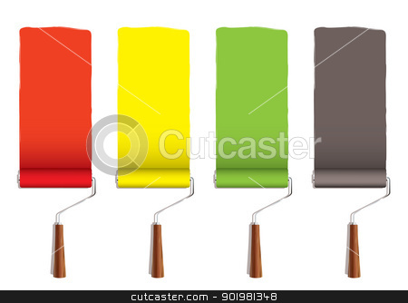 Paint roller stripe stock vector clipart, Red yellow greena and silver roller paint stripe icon by Michael Travers