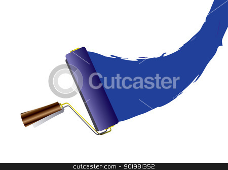 Paint roller swoosh stock vector clipart, Blue paint swoosh or splat with roller with handle and shadow by Michael Travers