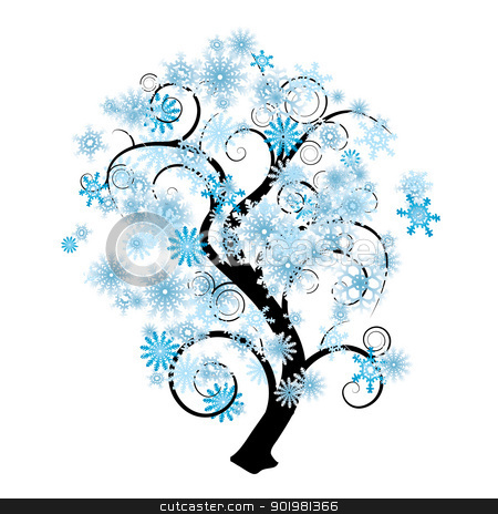 Snowflake tree stock vector clipart, Blue and white snowflake abstract tree in silhouette by Michael Travers