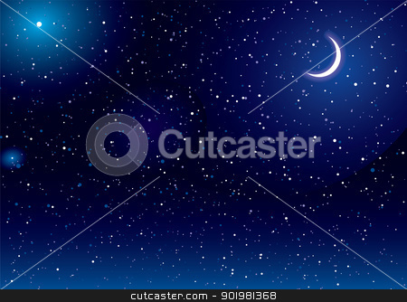 Space scape moon stock vector clipart, Space scene with stars and moon ideal desktop background by Michael Travers