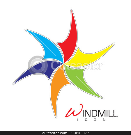 Windmill icon stock vector clipart, Brightly colored windmill icon with sails and text by Michael Travers
