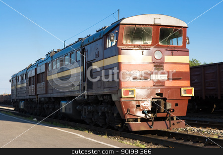 locomotive stock photo, modern locomotive on a railway by Alexey Popov