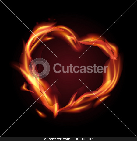 fire heart stock photo, Fire flames making a heart shape. Vector illustration. by Kotkoa