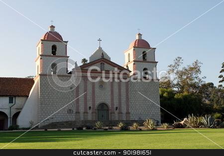 Santa Barbara Mission stock photo, The Spanish historic Santa Barbara Mission in California. by Henrik Lehnerer