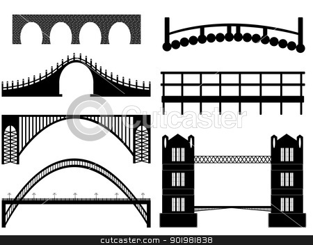 Bridge stock vector clipart, Bridge illustration on white background by Iliuta