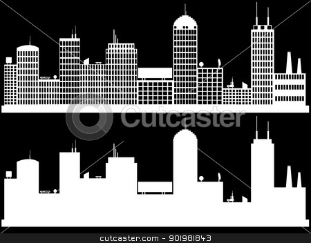cityscape stock vector clipart, White cityscape on black background by Iliuta