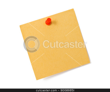 Note stock photo, Note white paper tacked on a wall by Alexey Popov
