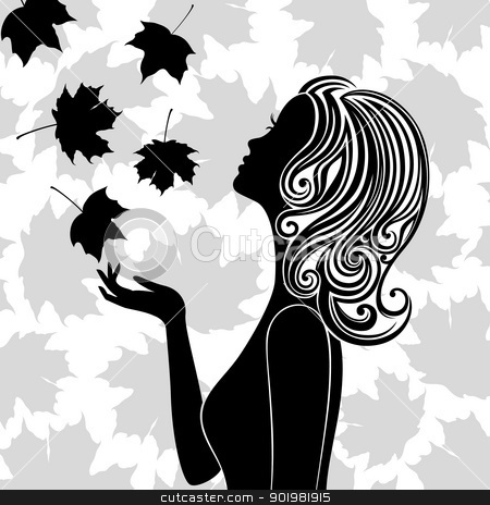 Silhouette of young woman with flying leaves stock vector clipart, Line art of young woman with leaves flying round by Allaya
