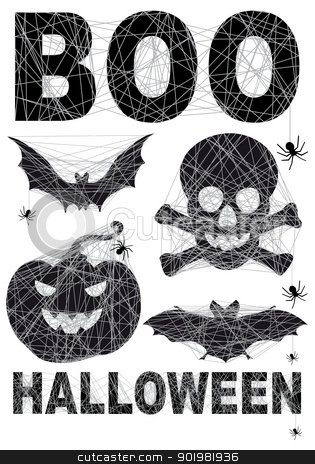 Halloween icon set with spidernet, vector stock vector clipart, Halloween icon set with spidernet, vector illustration by Beata Kraus