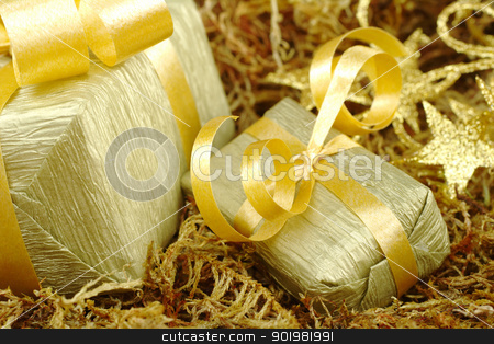 Golden Presents stock photo, Boxes wrapped in golden paper with golden ribbon on brown moss (Selective Focus, Focus on front of the small box) by Ildiko Papp