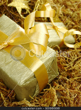 Golden Presents stock photo, Boxes wrapped in golden paper with golden ribbon on brown moss (Selective Focus, Focus on front of the box) by Ildiko Papp