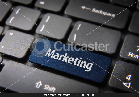 Blue marketing keyboard key, business background stock photo, Blue key with marketing text on laptop keyboard. Included clipping path, so you can easily edit it. by Cienpies Design