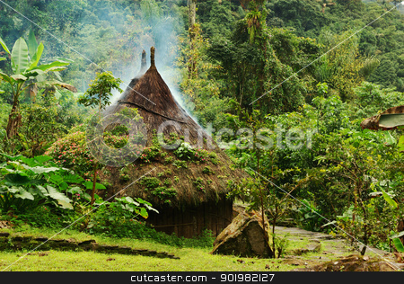 Traditional Hut in Northern Colombia stock photo, Small kogi hut built in the traditional way of the Tayrona in the jungle of Northern Colombia. The roof of the hut has to be kept dry as it rains every day in this region, thus the smoke coming through the roof.  by Ildi Papp