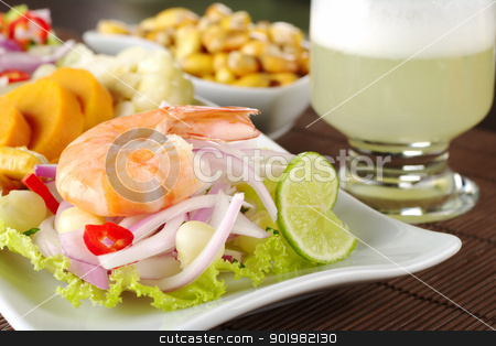 Peruvian Ceviche with Prawn stock photo, Peruvian ceviche with king prawn accompanied by sweet potatoes, corn, cancha (fried corn) and the Peruvian cocktail called 