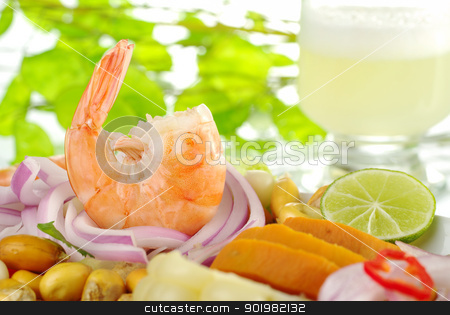 Peruvian Ceviche with Prawn stock photo, Peruvian prawn ceviche with the cocktail pisco sour in the background (Selective Focus, Focus on the king prawn) by Ildiko Papp
