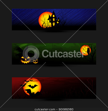 Set of Halloween Banner or Web Header  stock vector clipart, Set of Colorful Halloween Banner or Web Header by meikis