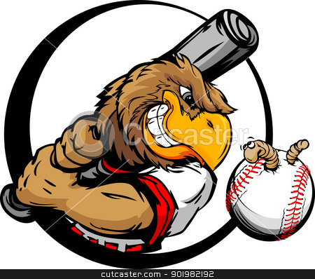 Early Bird Baseball Player Holding Baseball Bat stock vector clipart, Baseball Cartoon Early Bird Batter with Bat and Ball with Worm Vector Illustration by chromaco