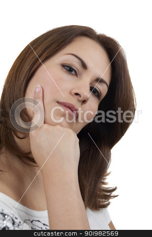 Relaxed Woman stock photo, Woman isolated on white by Matthias Krapp