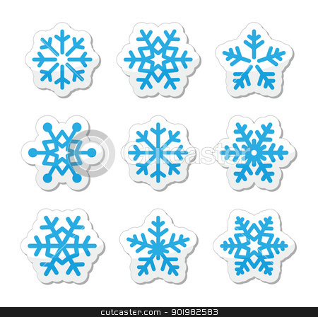 Christmas snowflakes icons set stock vector clipart, Winter christmas icons set- snow by Agnieszka Murphy